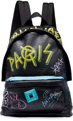 Balenciaga Men's Graffiti Leather Backpack