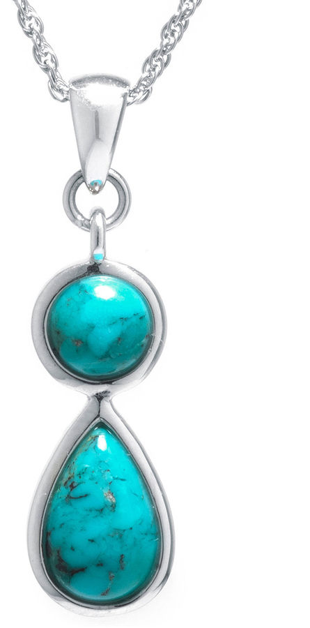 FINE JEWELRY Enhanced Turquoise Sterling Silver Double-Drop Pendant Necklace