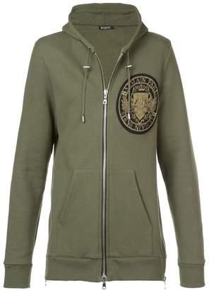 Balmain medallion logo embroidered hoodie
