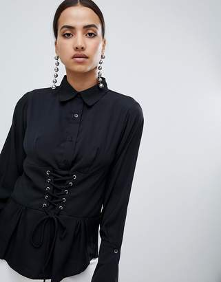 AX Paris long sleeve shirt with corset detail