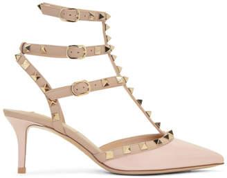 Valentino Pink Garavani Patent Rockstud Cage Heels