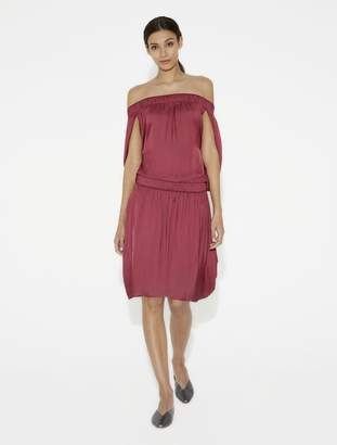 Halston Off Shoulder Ruched Satin Dress