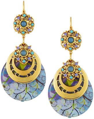 Jose & Maria Barrera Decoupage Wood Drop Earrings