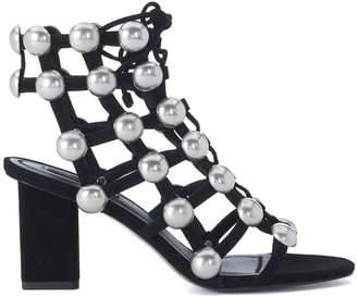 Alexander Wang Rainey Black Leather Heeled Sandal With Studs