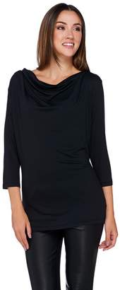 Halston H By H by Draped Wrap Back Long Sleeve Knit Top