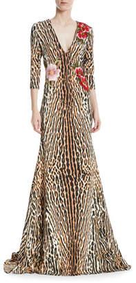 Naeem Khan NK32 Leopard & Floral V-Neck Trumpet Gown