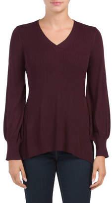 Gathered Sleeve Ribbed Sweater