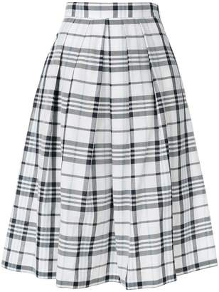 Max Mara checked pleated skirt