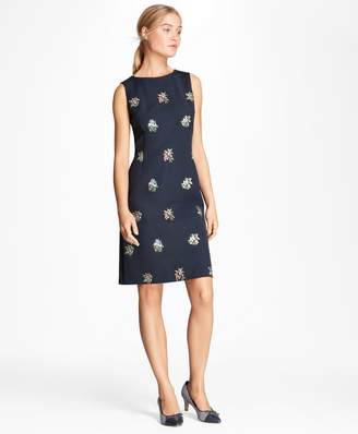 Brooks Brothers Floral-Embroidered Stretch-Cotton Shift Dress