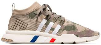 adidas khaki green and beige camouflage EQT support primeknit sneakers
