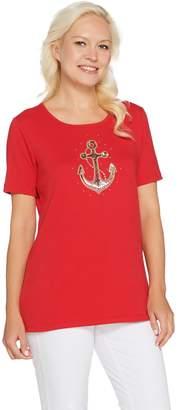 Factory Quacker Summer Sequin Short Sleeve Knit T-shirt