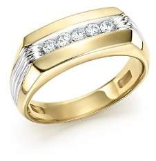 Bloomingdale's Men's Diamond Five-Stone Ring in 14K Yellow & White Gold, 0.25 ct. t.w.