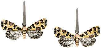 Astley Clarke 14kt gold Crimson Speckled Moth drop diamond earrings