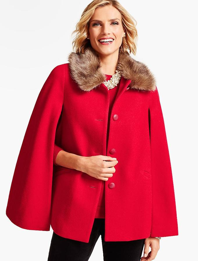 Faux Fur-Collar Cape