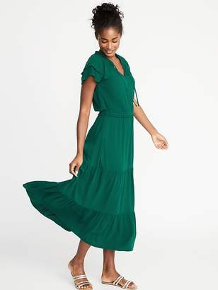Old Navy Waist-Defined Ruffle-Sleeve Crepe Maxi for Women