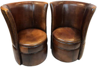 One Kings Lane Vintage French Leather Small Club Chairs - Set of 2 - Heather Cook Antiques