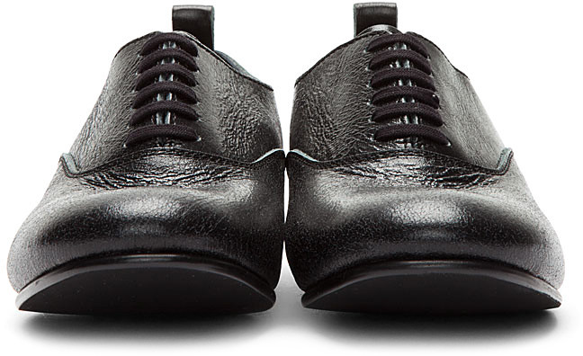 Comme des Garcons Black Distressed Oxford Flats