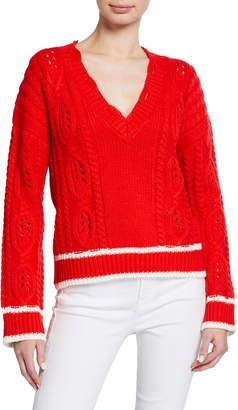Moon River V-Neck Cable Knit Long-Sleeve Sweater