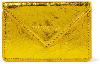 Balenciaga Paper Mini Printed Metallic Crinkled-leather Wallet - Gold