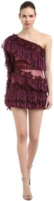Ruffled One Sleeve Lace Dress