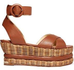 Paloma Barceló Violette Leather And Wicker Platform Sandals