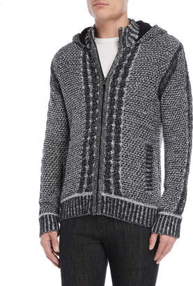 X-Ray X Ray Hooded Full-Zip Cable Knit Cardigan