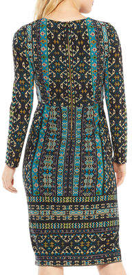 Maggy London Long-Sleeve Global-Tile Sheath Dress