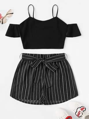 Shein Cold Shoulder Crop Top & Belted Pinstripe Shorts Set