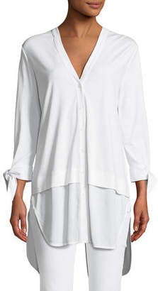 Joan Vass High-Low Crepe de Chine Shirting Tunic, Plus Size
