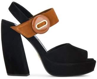 Prada Black 120 Suede Platform sandals