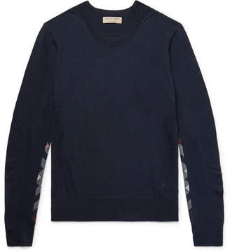 Burberry Check-Panelled Merino Wool Sweater - Navy
