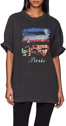 Balenciaga Women's Paris-Print Cotton T-Shirt - Black