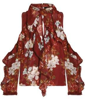Nicholas Cold-Shoulder Ruffled Floral-Print Silk-Chiffon Top