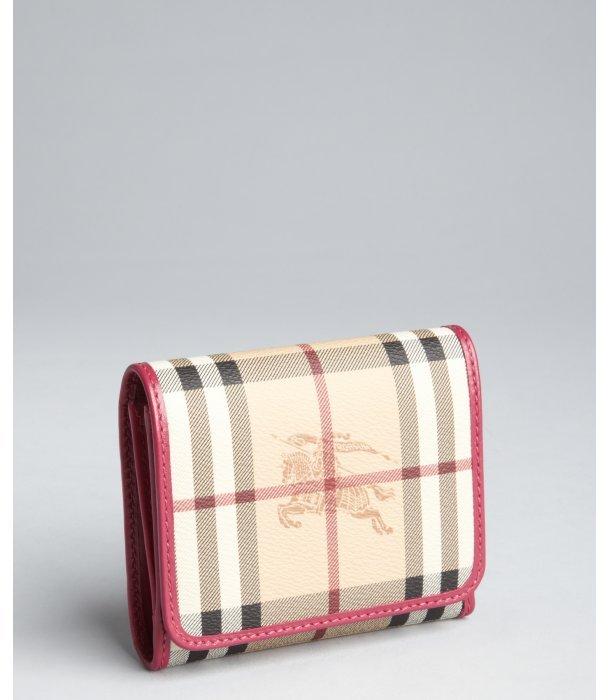 Burberry bright rhubarb pink 'Haymarket Leighton' wallet