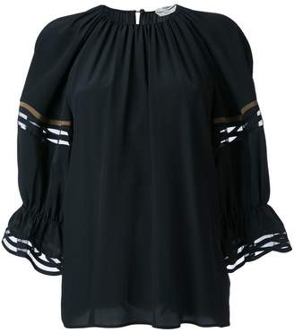 Fendi Waves ruffled cuff blouse