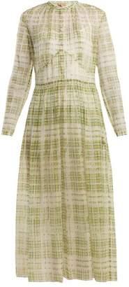 Burberry Adela scribble checked sheer-silk dress