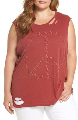 Lucky Brand Embroidered Peace Sign Destroyed Tank