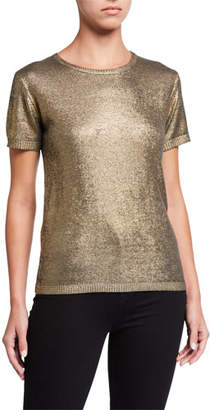 Neiman Marcus Majestic Paris for Metallic Elbow-Sleeve Crewneck Sweater