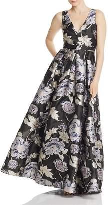Aidan Mattox Metallic Floral Ball Gown