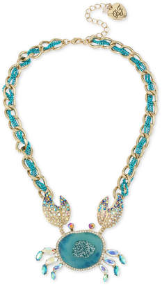 """Betsey Johnson Two-Tone Multi-Stone Crab Pendant Necklace, 16"""" + 3"""" extender"""