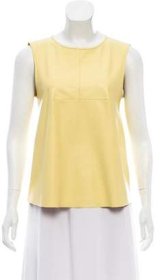 Tibi Faux Leather Sleeveless Top