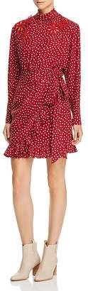 Rebecca Taylor Silk Ruffle-Trim Heart-Print Dress