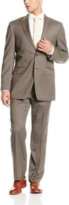 Jones New York Men's Mercer 2 Button Side Vent Suit with Flat Front Pant Peak Lapel
