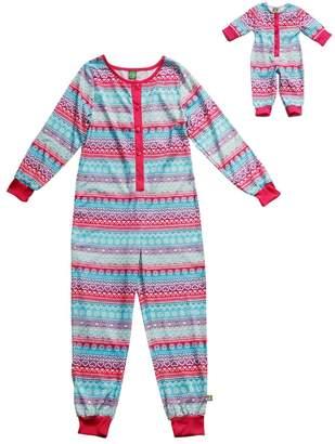 Dollie & Me Girls 4-14 Fairisle One-Piece Pajama Set