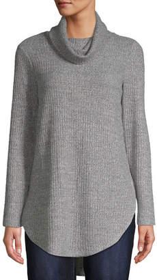 ST. JOHN'S BAY Womens Cowl Neck Long Sleeve Tunic Top