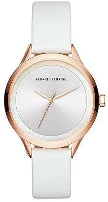 Armani Exchange Women's Quartz Stainless Steel and Leather Casual Watch