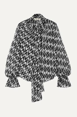Diane von Furstenberg Tina Pussy-bow Printed Silk Crepe De Chine Blouse - Black