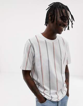 Weekday frank vertical stripe t-shirt in white