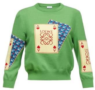 Playing Card Jacquard Sweater Green