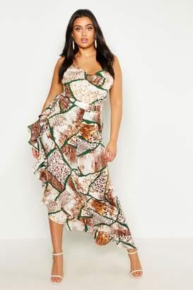 bf07fef9df4d8 boohoo Plus Woven Mixed Animal Ruffle Maxi Skirt